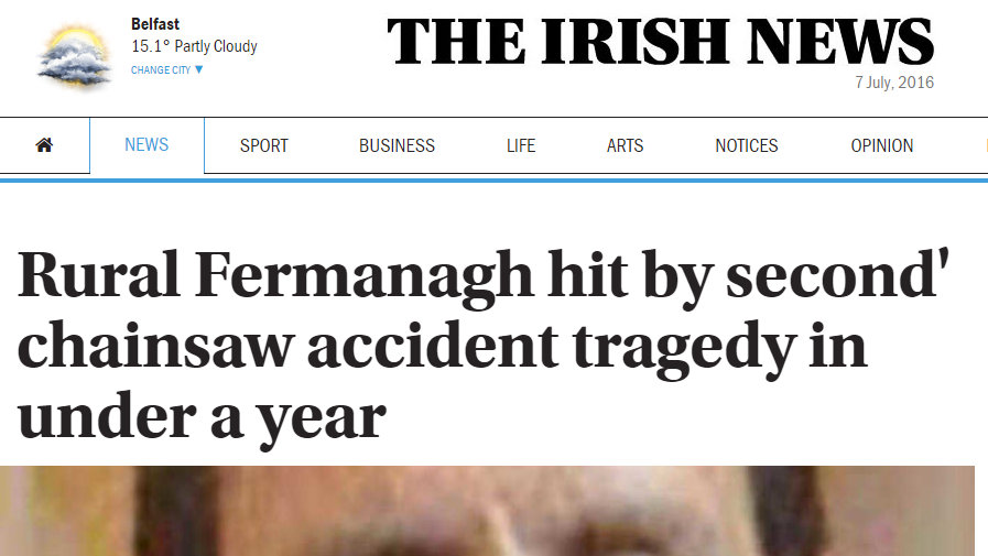 Rural Fermanagh hit by second' chainsaw accident tragedy in under a year