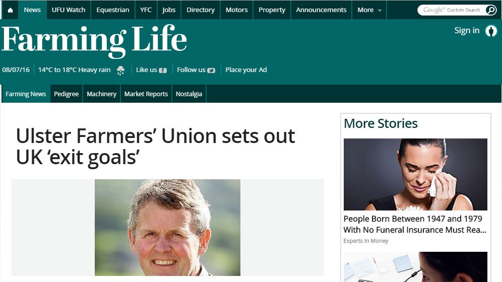 Ulster Farmers' Union sets out UK 'exit goals'