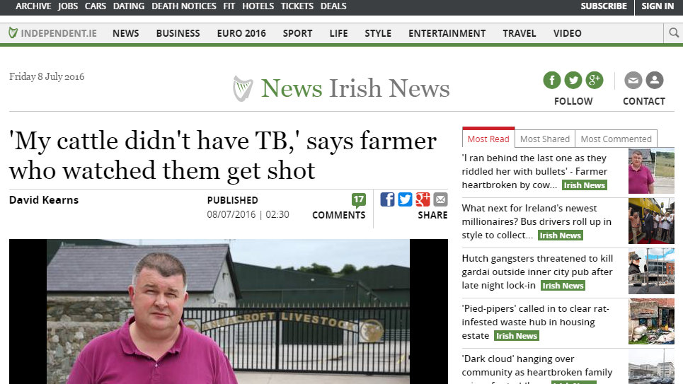 'My cattle didn't have TB,' says farmer who watched them get shot