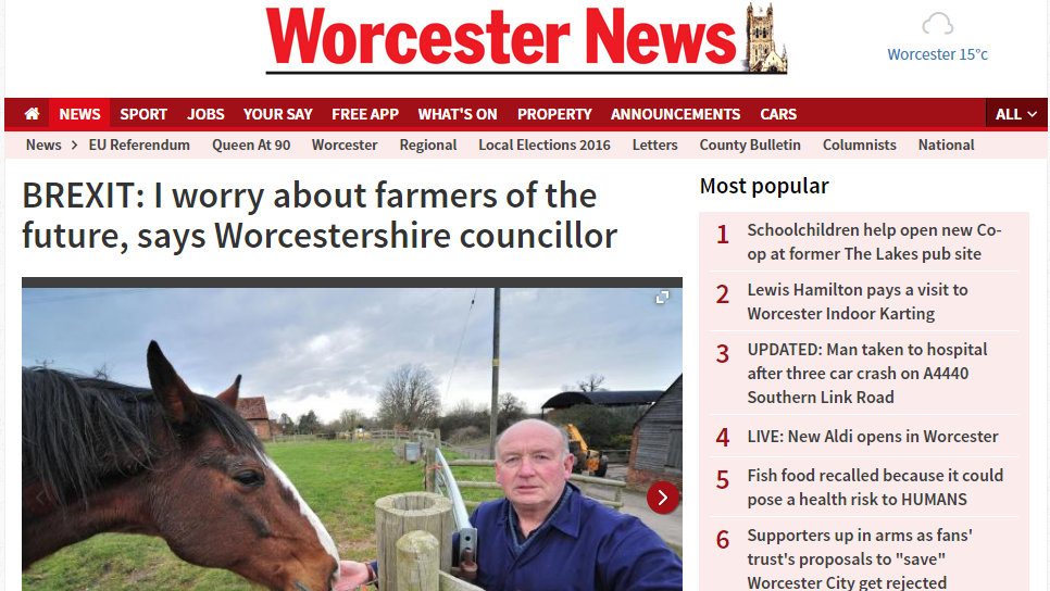 BREXIT: I worry about farmers of the future, says Worcestershire councillor