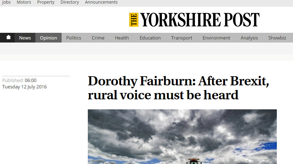 Dorothy Fairburn: After Brexit, rural voice must be heard