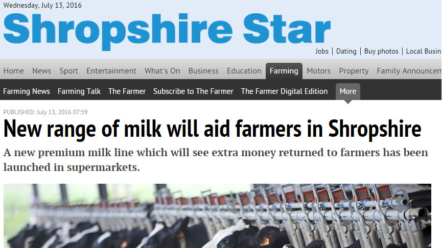 New range of milk will aid farmers in Shropshire