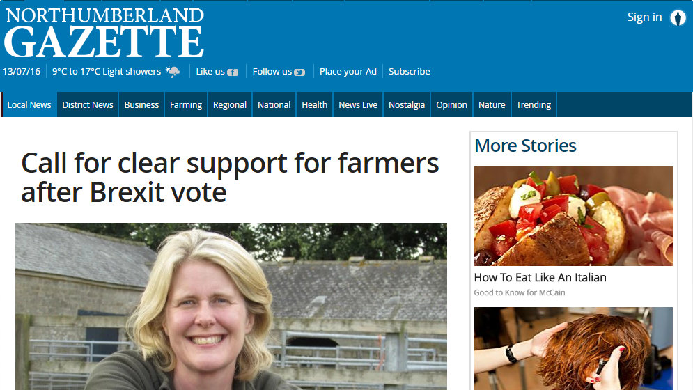 Call for clear support for farmers after Brexit vote