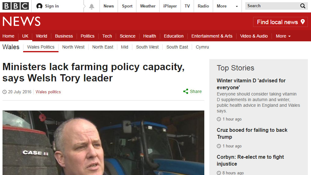 Ministers lack farming policy capacity, says Welsh Tory leader