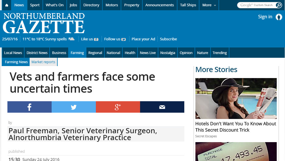 Vets and farmers face some uncertain times