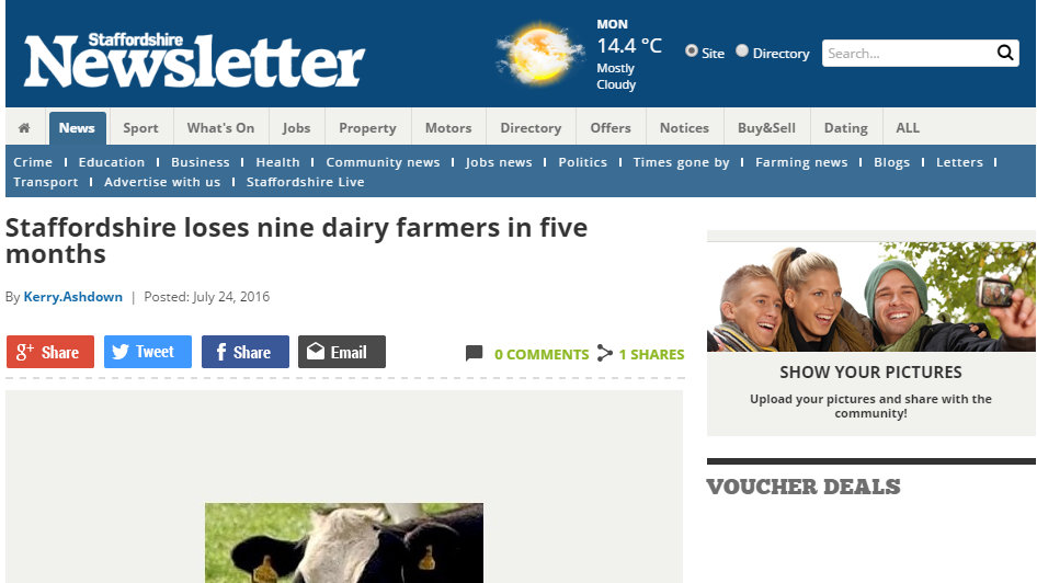 Staffordshire loses nine dairy farmers in five months