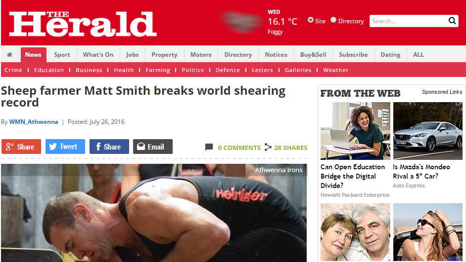 Sheep farmer Matt Smith breaks world shearing record