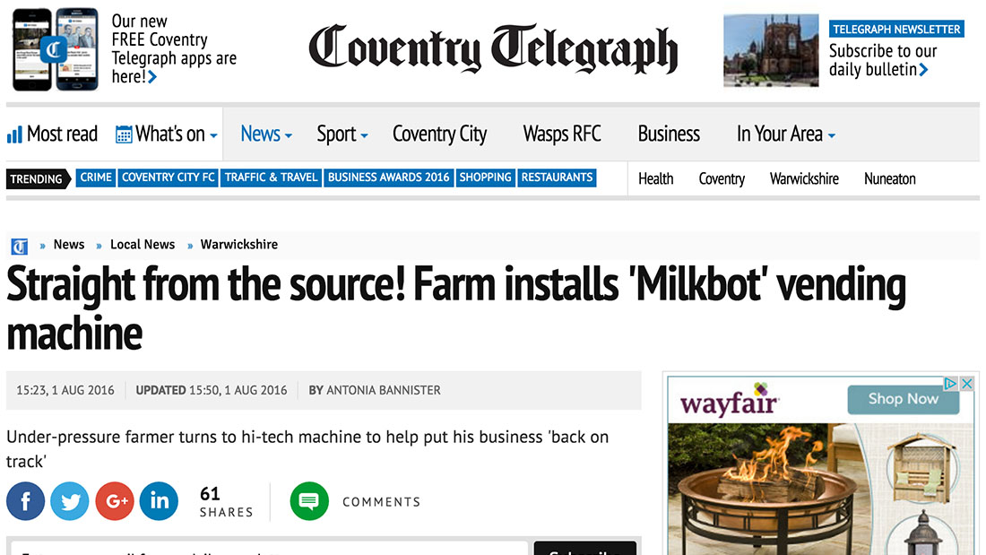 Straight from the source! Farm installs 'Milkbot' vending machine