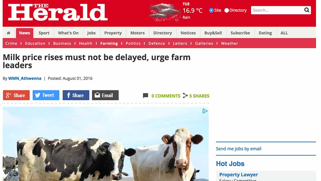 Milk price rises must not be delayed, urge farm leaders