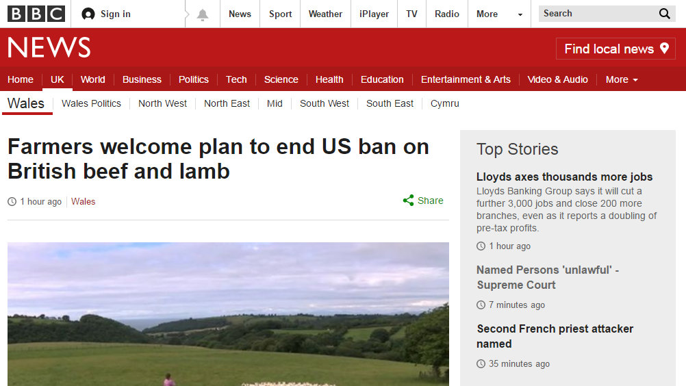Farmers welcome plan to end US ban on British beef and lamb