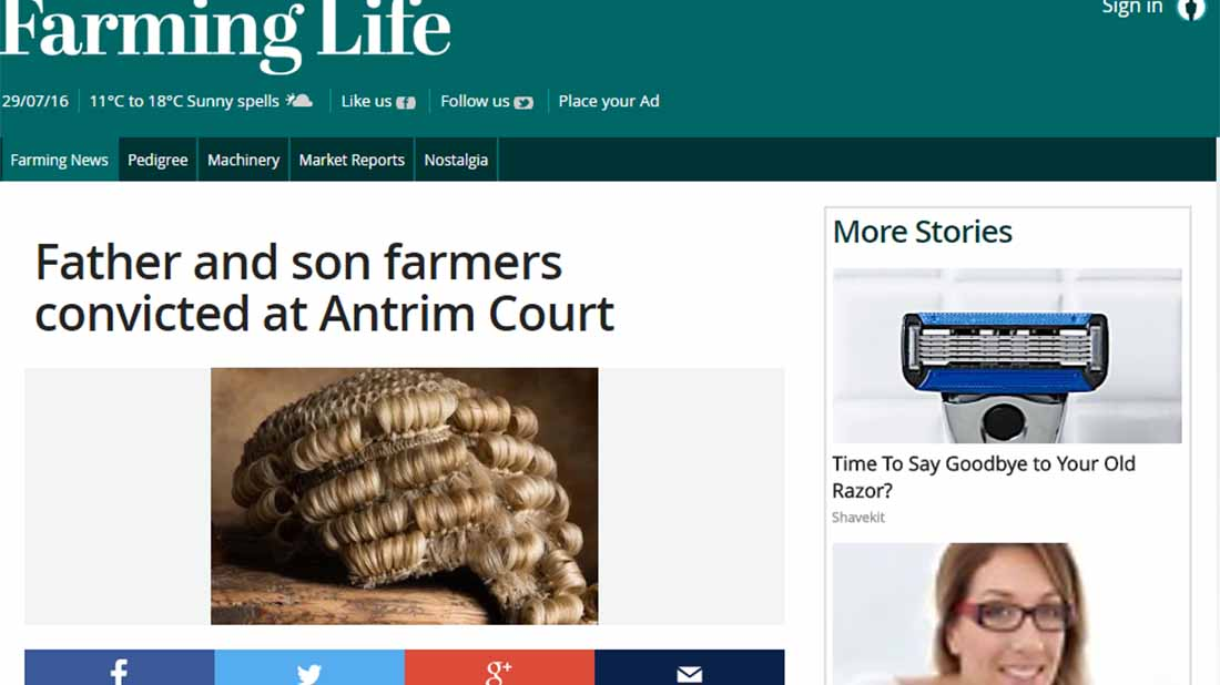Father and son farmers convicted at Antrim Court