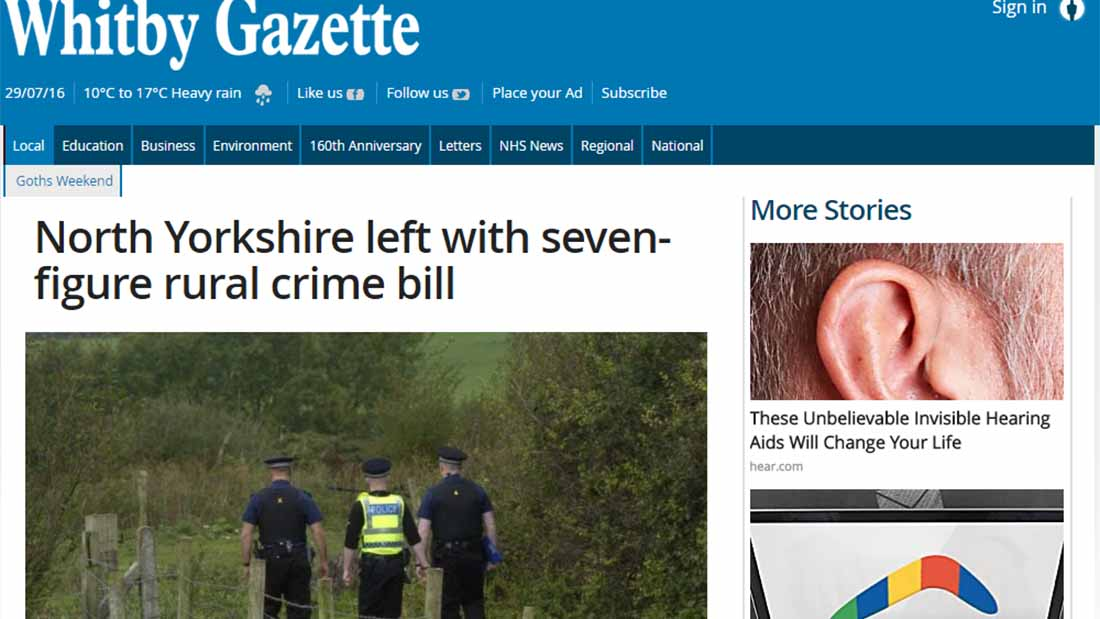 North Yorkshire left with seven-figure rural crime bill