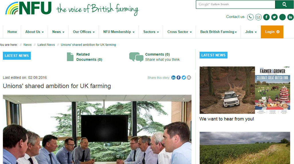Unions' shared ambition for UK farming