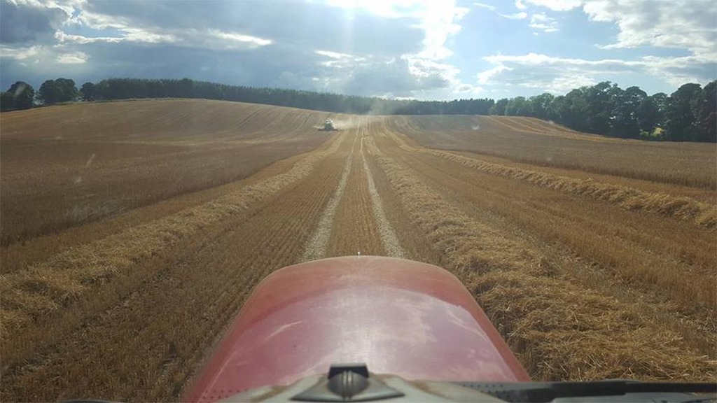 A view from the tractor cab as harvest gets underway