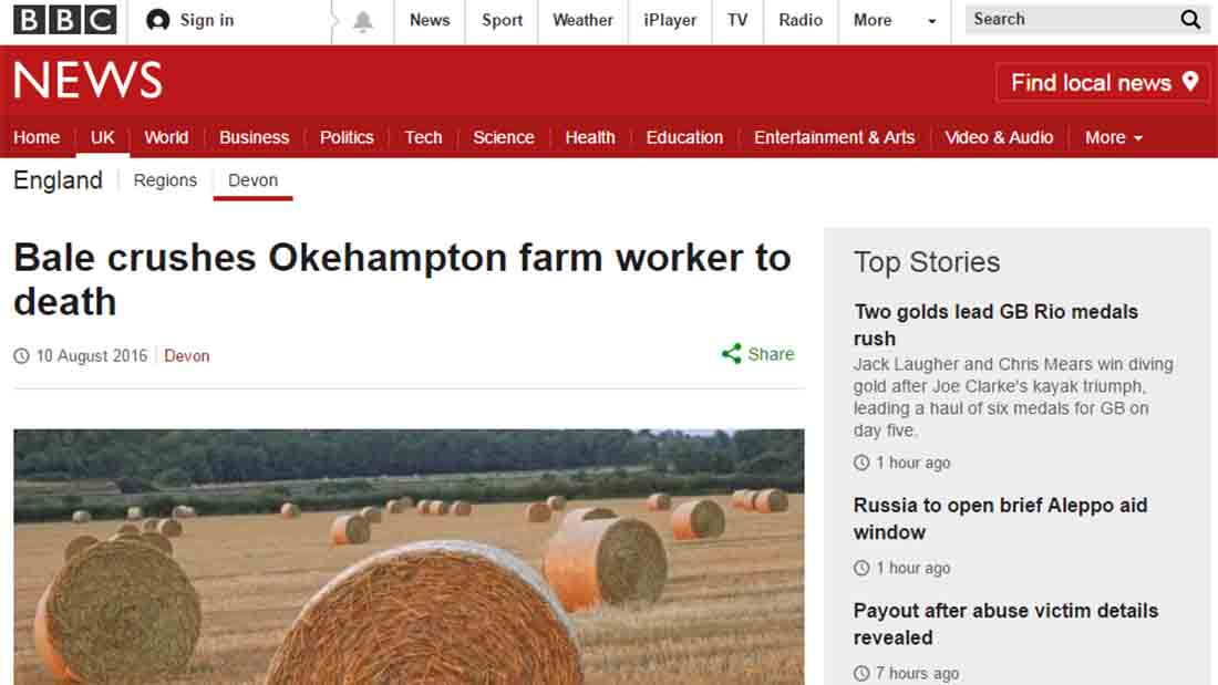 Bale crushes Okehampton farm worker to death