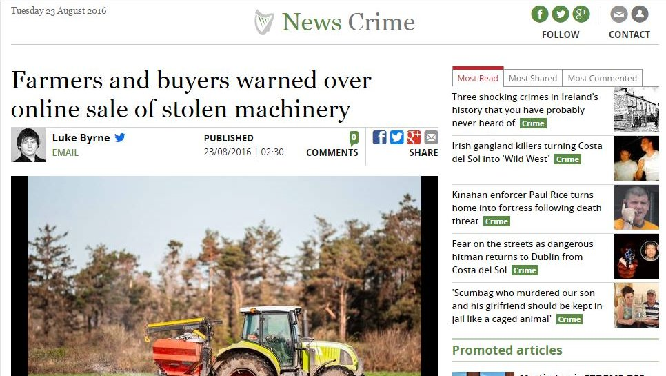 Farmers and buyers warned over online sale of stolen machinery