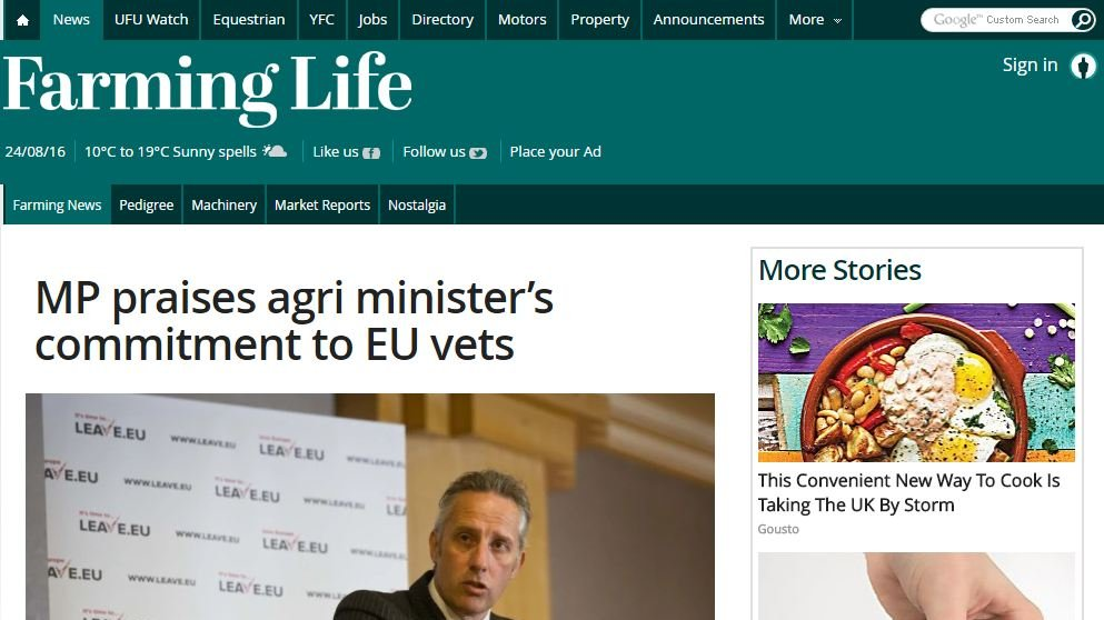 MP praises agri minister's commitment to EU vets