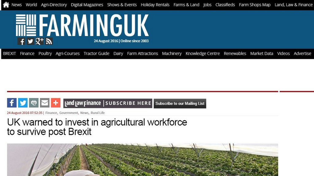 UK warned to invest in agricultural workforce to survive post Brexit