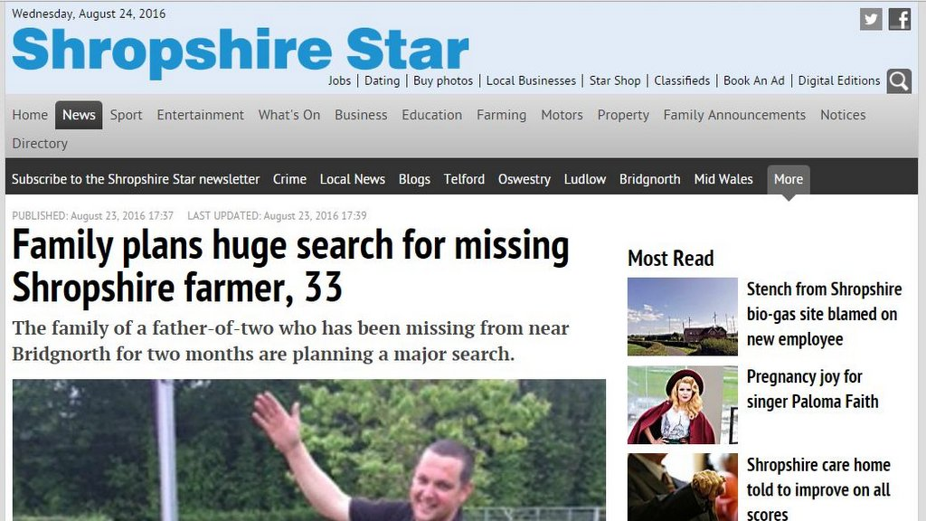 Family plans huge search for missing Shropshire farmer, 33