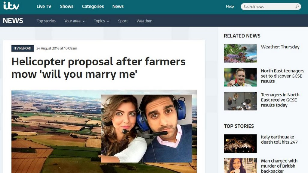 Helicopter proposal after farmers mow 'will you marry me'