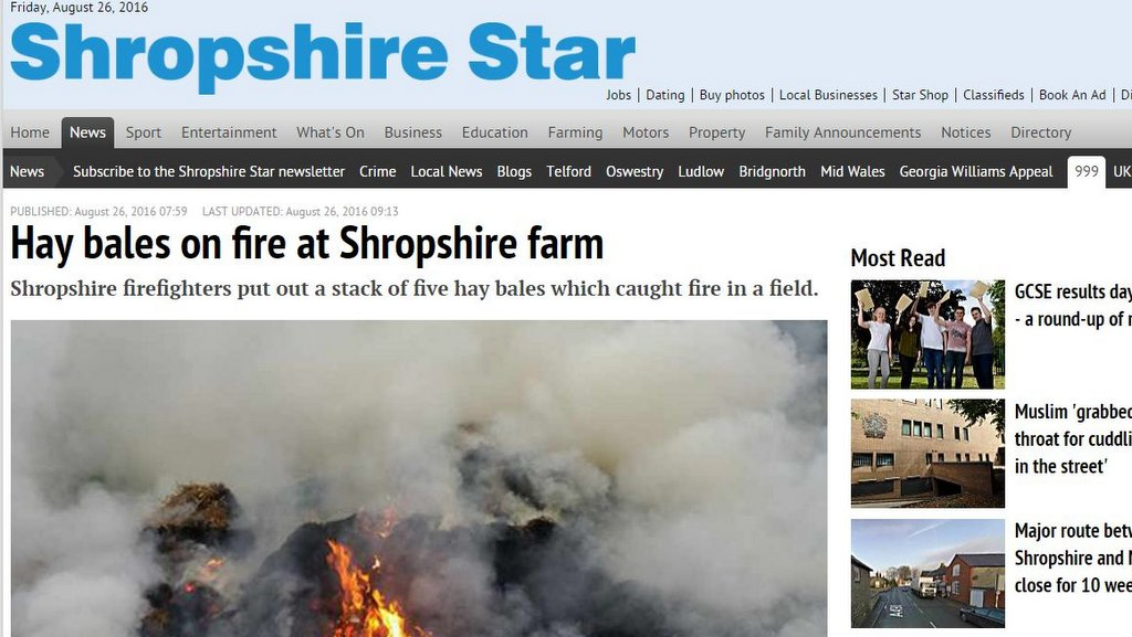 Hay bales on fire at Shropshire farm