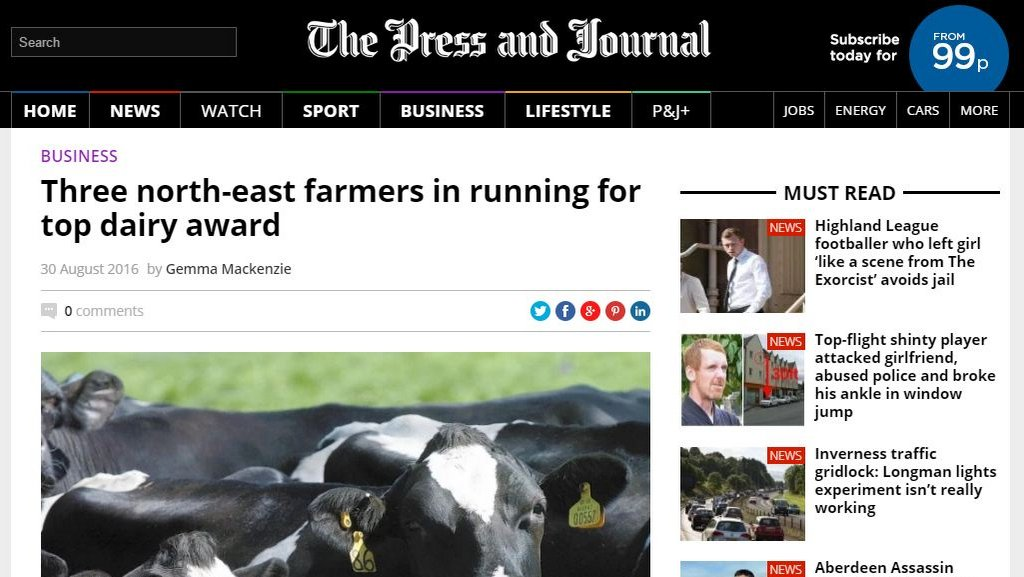 Three north-east farmers in running for top dairy award