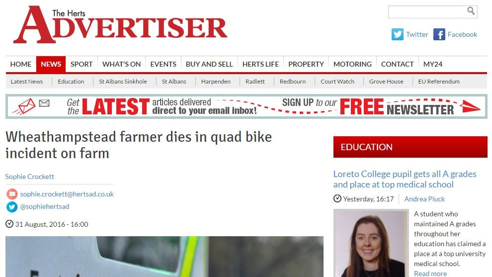 Wheathampstead farmer dies in quad bike incident on farm