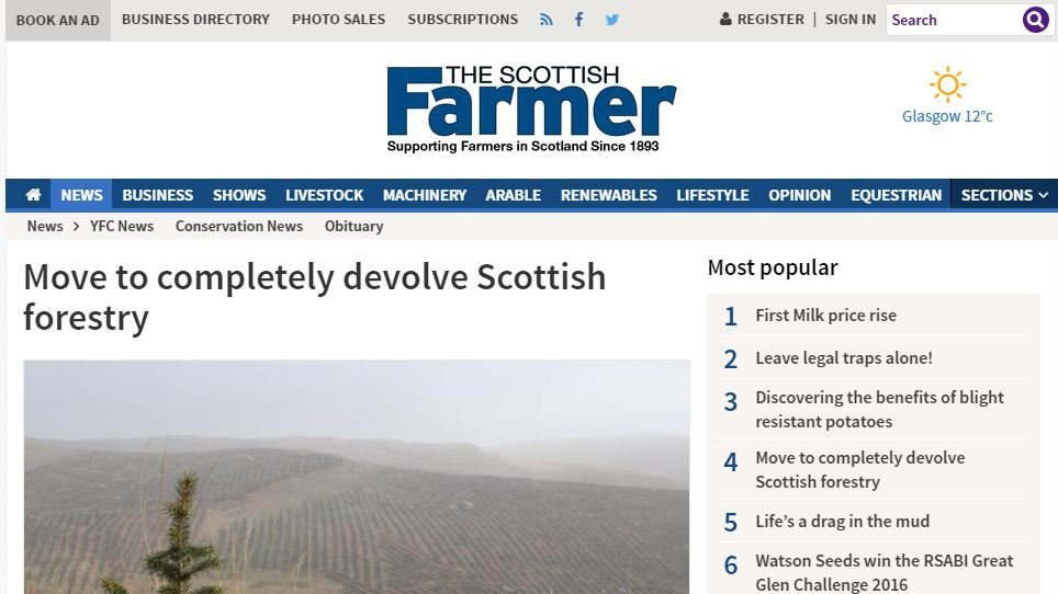 Move to completely devolve Scottish forestry