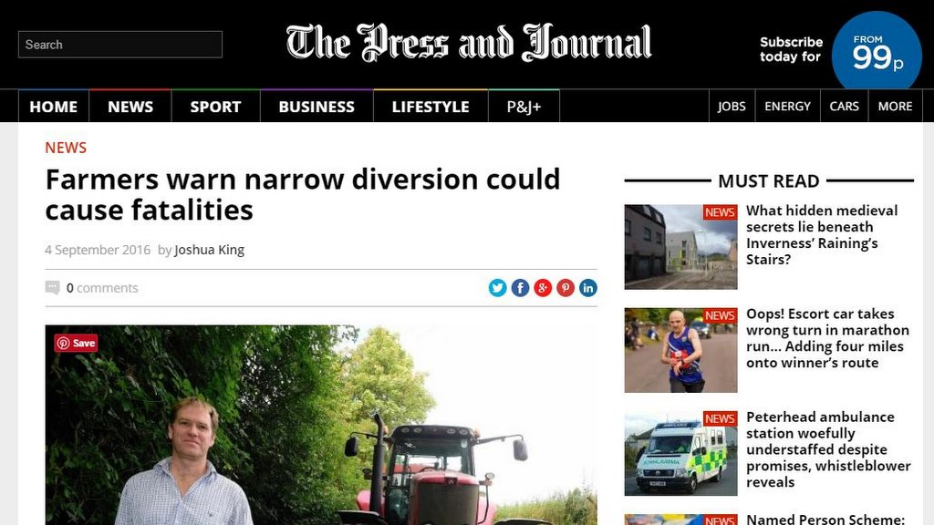 Farmers warn narrow diversion could cause fatalities