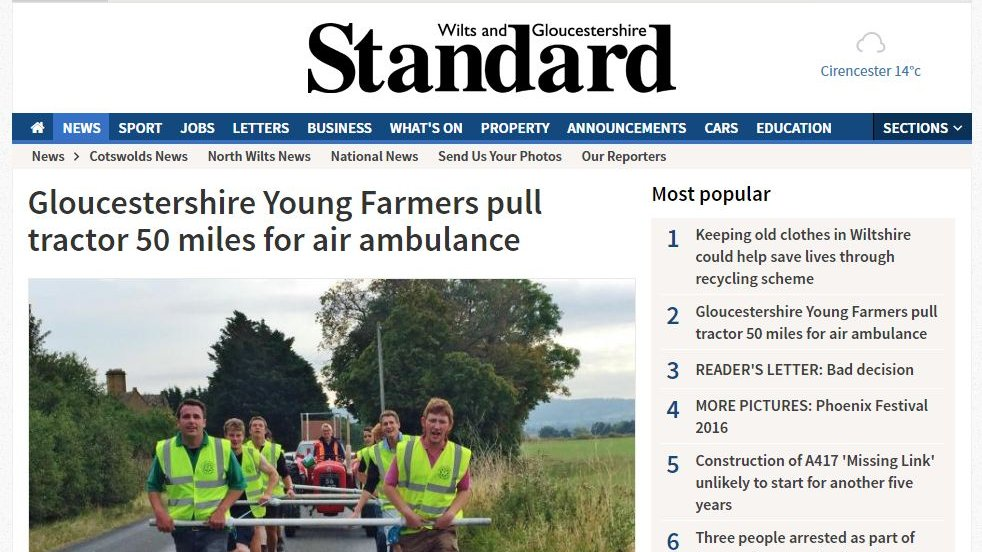 Gloucestershire Young Farmers pull tractor 50 miles for air ambulance
