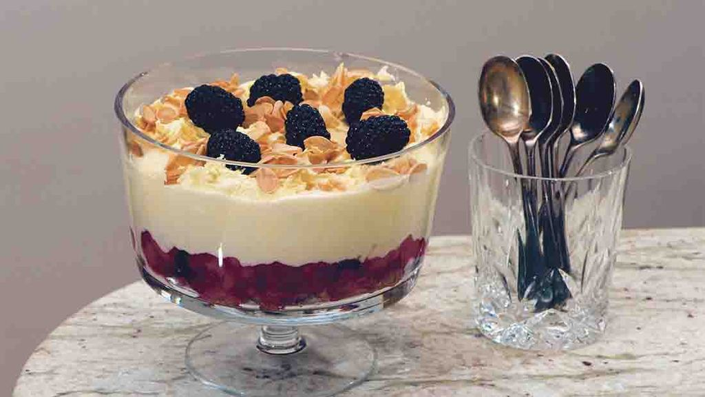 A retro sweet revival: Blackberry and apple trifle