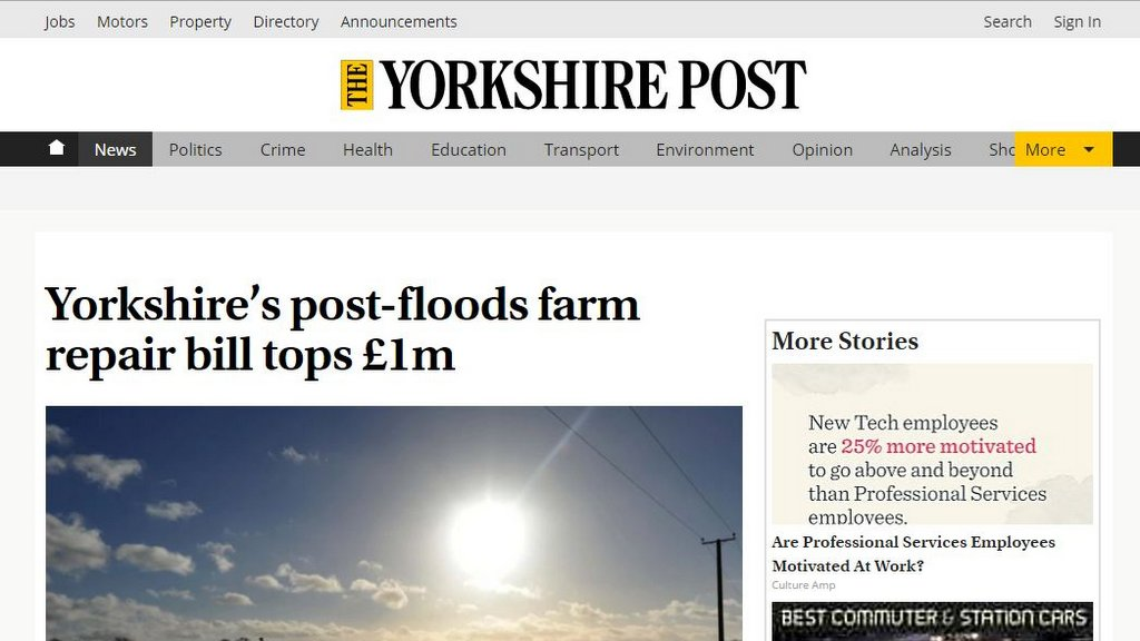 Yorkshire's post-floods farm repair bill tops £1m