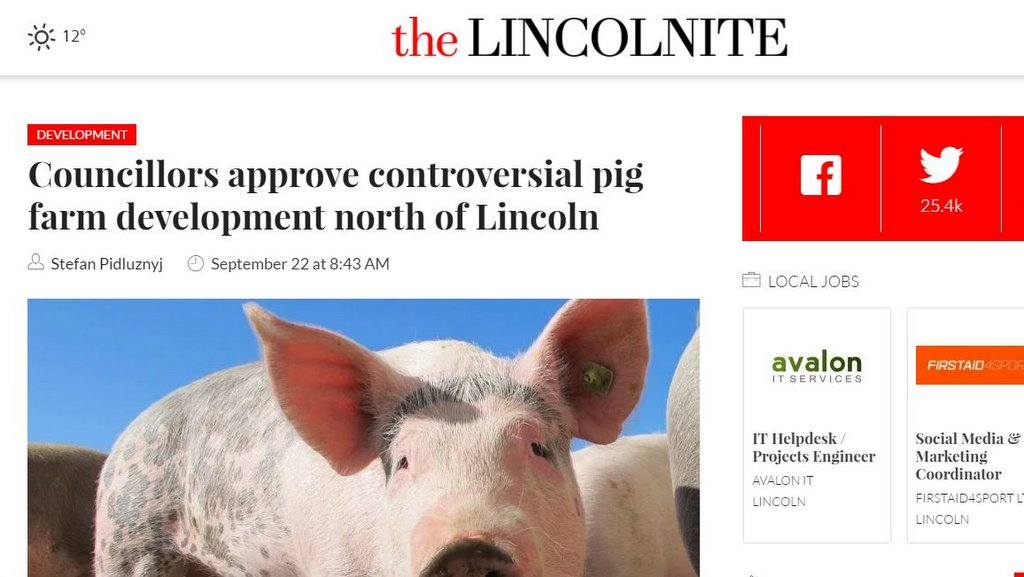 Councillors approve controversial pig farm development north of Lincoln