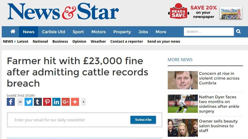 Farmer hit with £23,000 fine after admitting cattle records breach