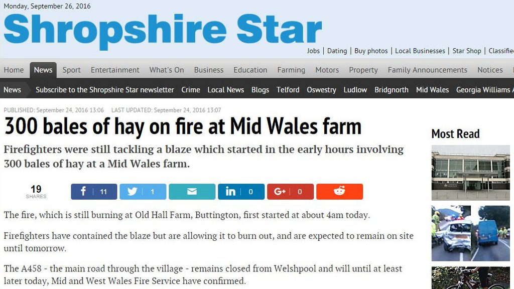 300 bales of hay on fire at Mid Wales farm