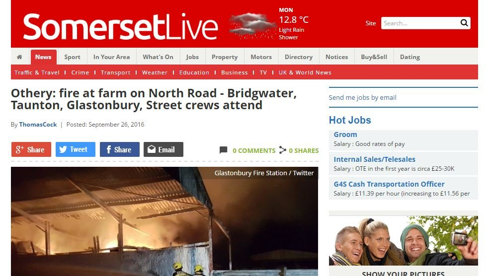 Fire at farm on North Road - Bridgwater