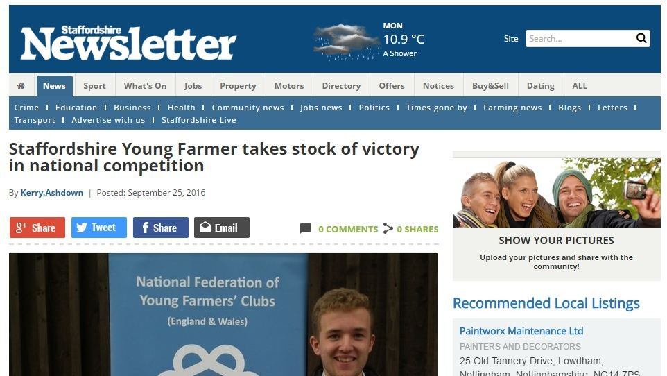 Staffordshire Young Farmer takes stock of victory in national competition