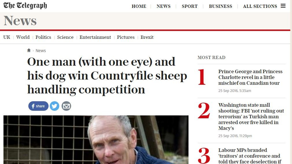 One man (with one eye) and his dog win Countryfile sheep handling competition
