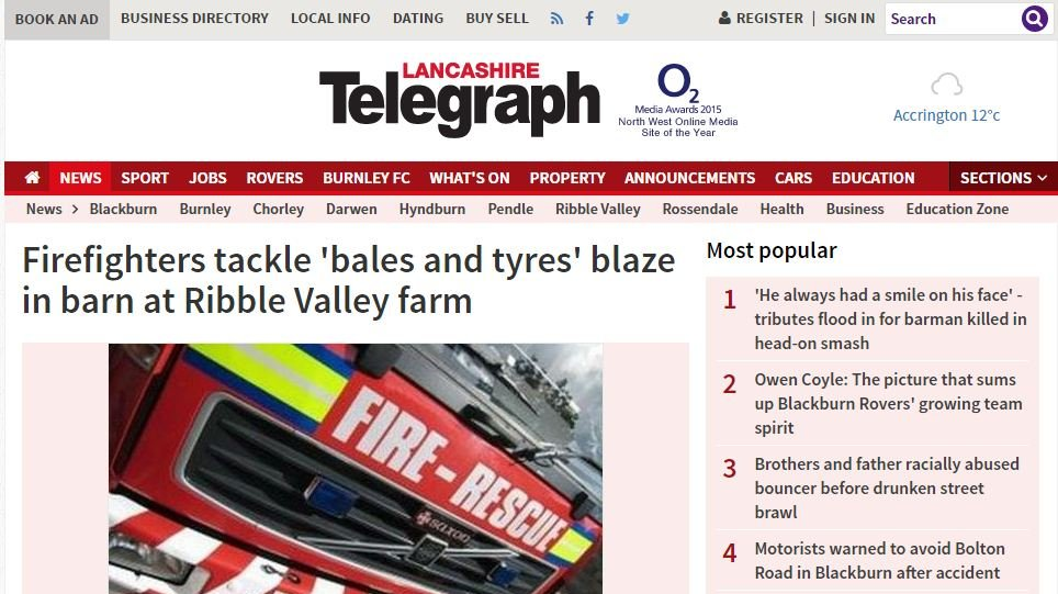 Firefighters tackle 'bales and tyres' blaze in barn at Ribble Valley farm