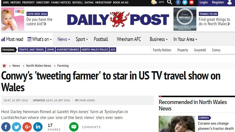 Conwy's 'tweeting farmer' to star in US TV travel show on Wales