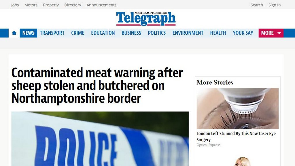 Contaminated meat warning after sheep stolen and butchered on Northamptonshire border