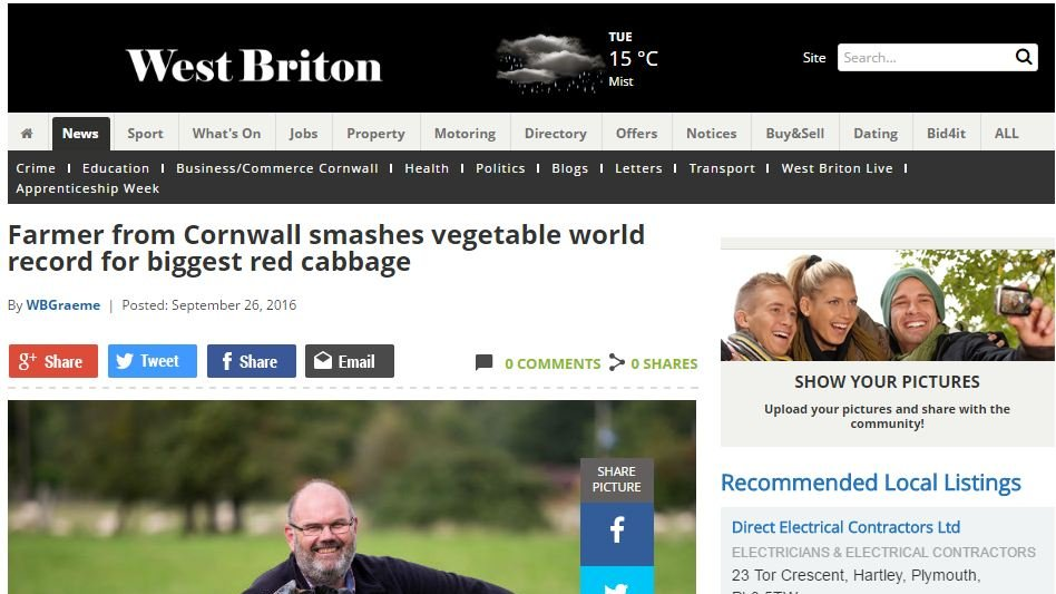 Farmer from Cornwall smashes vegetable world record for biggest red cabbage