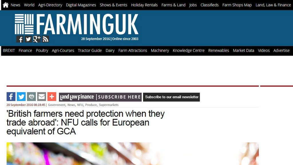 'British farmers need protection when they trade abroad': NFU calls for European equivalent of GCA