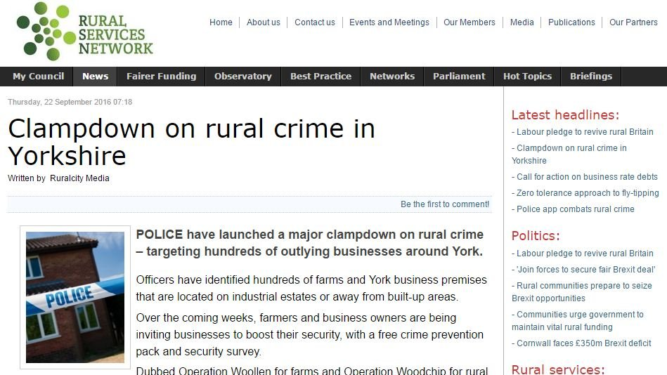 Clampdown on rural crime in Yorkshire