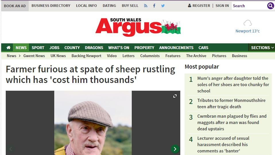 Farmer furious at spate of sheep rustling which has 'cost him thousands'