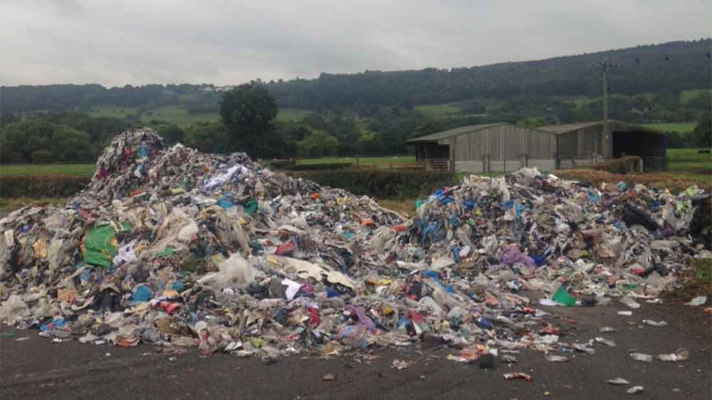 The Otley farm was covered in plastic recycling waste.