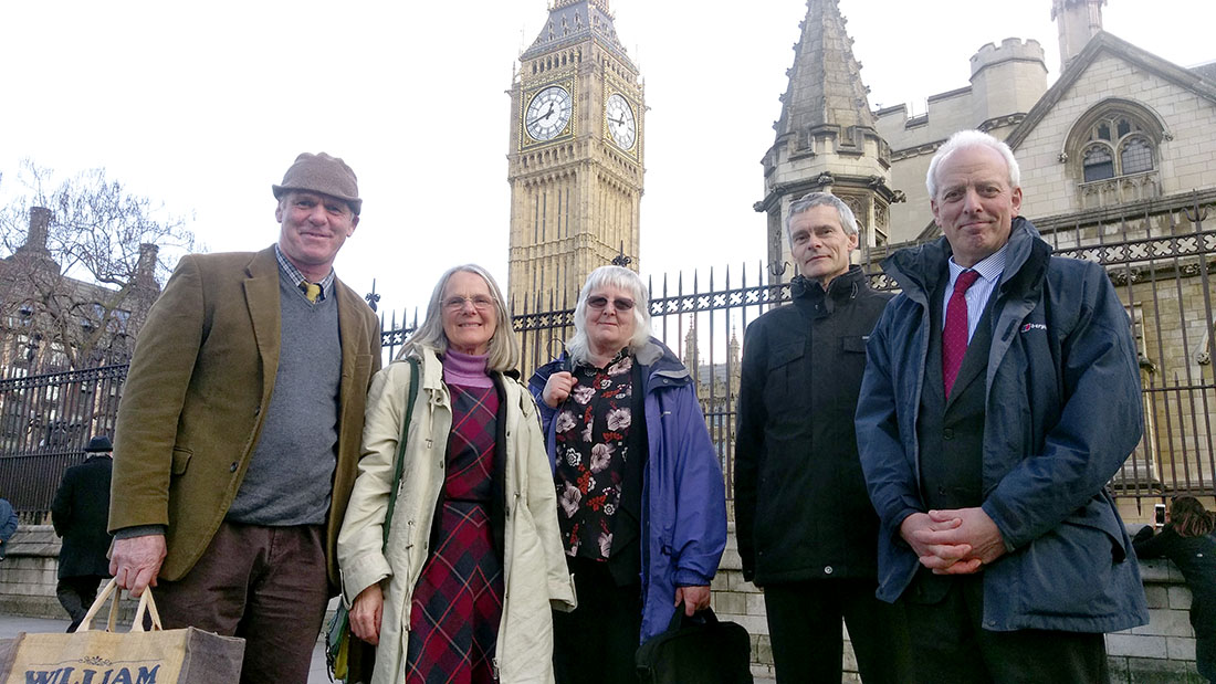 Paul Barnes (left) and the Cumbria FLAGs at Westminster for EFRA.