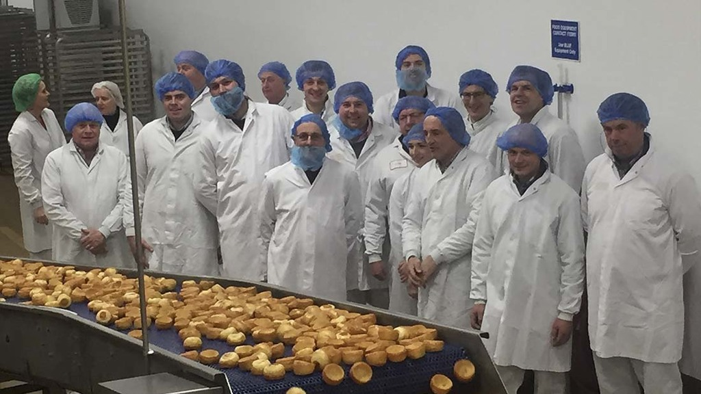 Yorkshire farmers visit Aunt Bessie's to see their wheat made into Yorkshire puddings