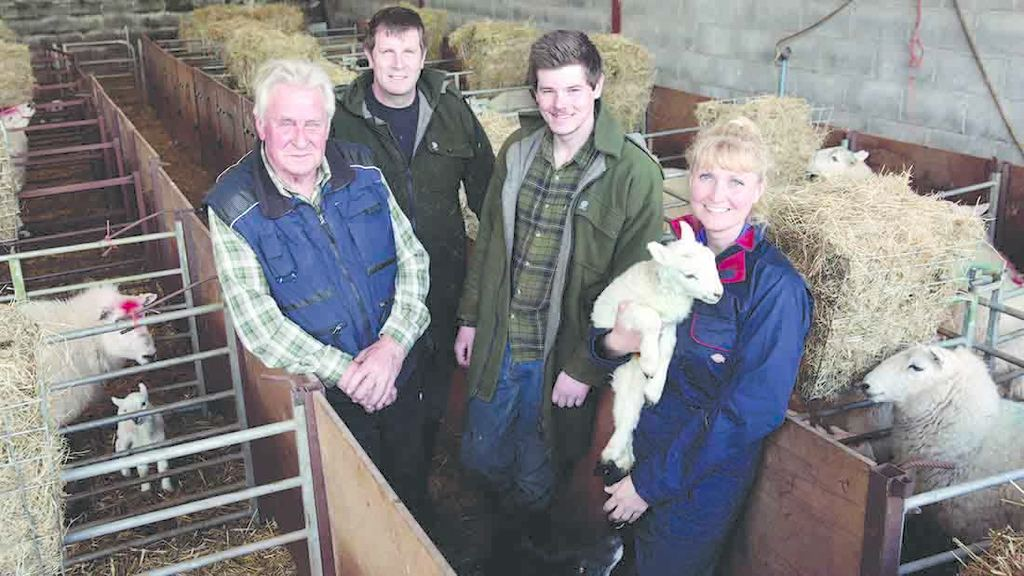 L - R: Godfrey, Stephen, Luke and Lisa Williams among nursery pens.
