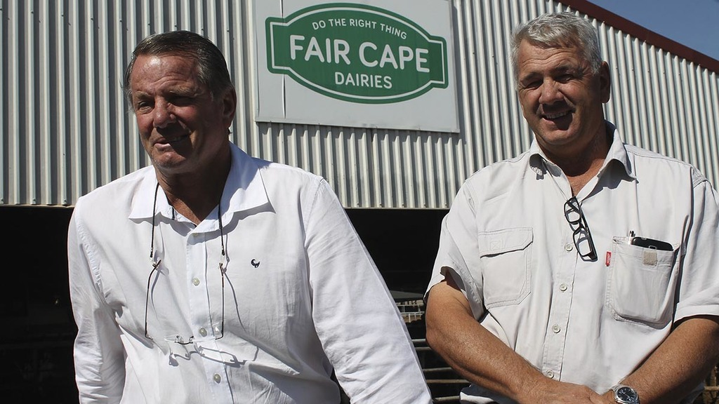 Brothers Melt (left) and Johannes Loubser manage Fair Cape Dairies.